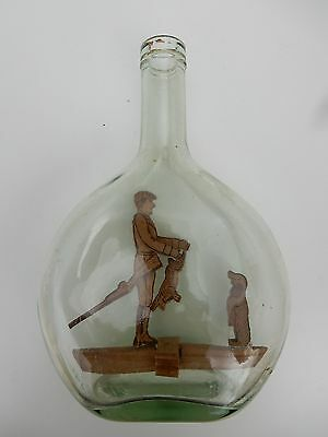 1940S  1950S  Wooden  Naive Hunter In A Bottle  --   To Restore  Kitsch Decor