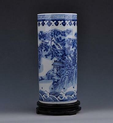 chinese  ancient Blue and white porcelain sculpture landscape arrow holder