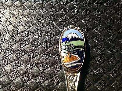 Enamelled Vintage Silver Plated Countryside/mountain Collectable Spoon