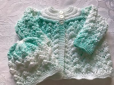 Hand knitted Babies Matinee Cardigan and Matching Hat,  fits 0-3 mths 'NEW'