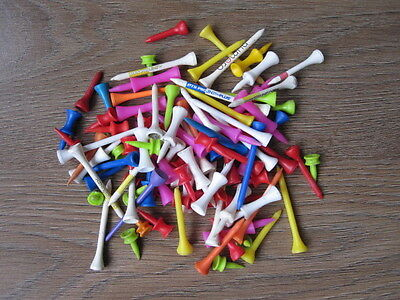 100 X Golf Tees - Various Colours, Shapes & Sizes