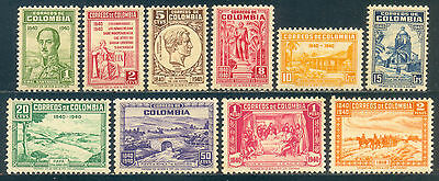 Colombia 1940, Set of 10 Stamps, Death of General Francisco, SC 475/84, NH