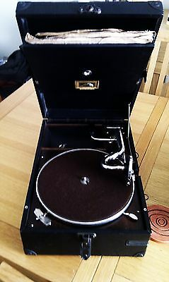 Early 20th century His Masters Voice portable gramophone player.
