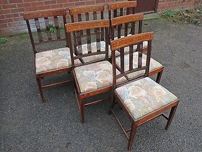 Set of 6 George III antique Dutch solid mahogany floral marquetry dining chairs