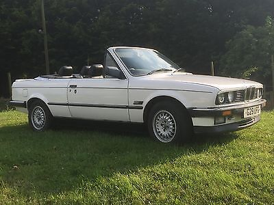 BMW 320i E30 CONVERTIBLE 1990 WHITE CABRIOLET LAST OF THE CHROME BUMPERS