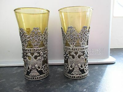 russian tea glass holders with original glasses