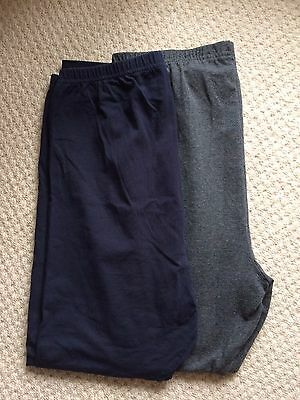 Maternity Leggings Size 14, Two Pairs (1x Navy, 1x Grey)