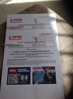 THORPE PARK TICKETS x 2 for Wednesday 2nd August 2017 01/08/17 summer holidays