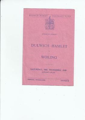 Dulwich Hamlet v Woking Isthmian League Football Programme 1949/50
