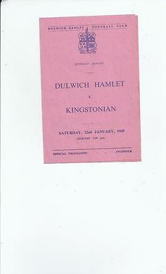 Dulwich Hamlet v Kingstonian Football Programme 1948/49