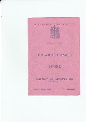 Dulwich Hamlet v Ilford Isthmian League Football Programme 1949/50