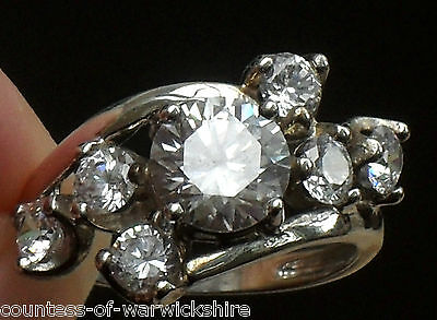 FINEST 3.50ct ART DECO STYLE CROSSOVER BYPASS TWIST DESIGN CLUSTER SILVER RING