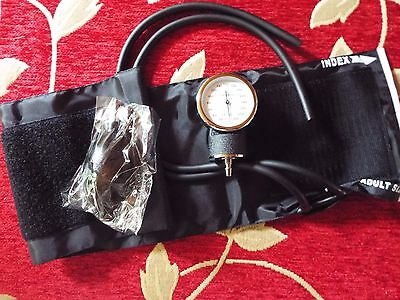 Aneroid sphygmomanometer in black carrying pouch. Blood Pressure testing