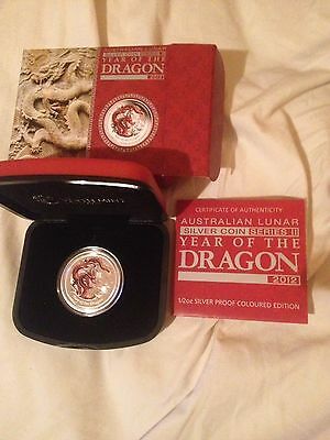 Perth Mint 1/2 Oz 2012 Silver Coloured Proof Year Of The Dragon