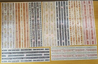 9 Sheets of Ribbon Stickers With Gems and Pearls Card Making Scrapbooking Crafts