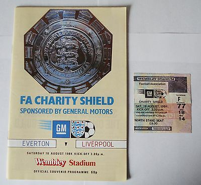 1984 Fa Charity Shield Everton V Liverpool Official Programme + Ticket Stub