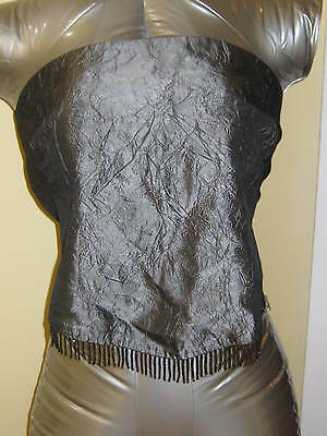 NWOT CORSET COSTUME Holiday GUESS SILVER GREY BELLYDANCE BEADED FRINGE TOP S