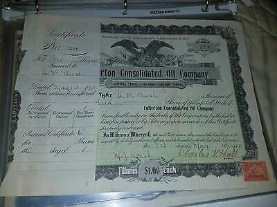 Fullerton Consolidated Oil Co Stock Certificate - 1900 - with Tax Stamps