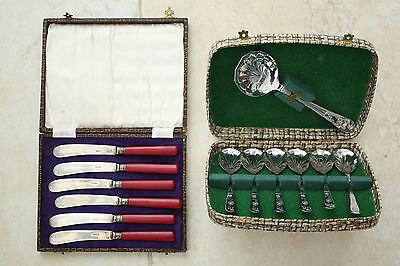 6 Vintage Knives In Case+Fruit Spoons In Case + 3 Other Silver? Items.