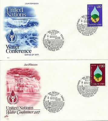 United Nations 1977 Water Conference On 2 First Day Covers Geneva Fdi