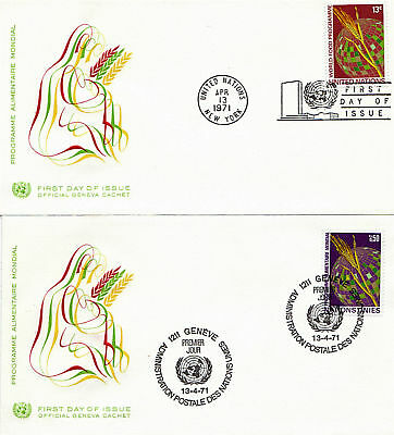 United Nations 1971 World Food Program On 2 First Day Covers Geneva