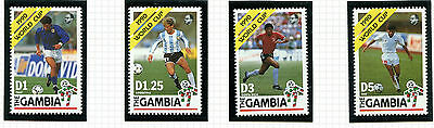 Gambia 1990 Italy Football World Cup  Set Of 4 Commemorative Stamps Mnh