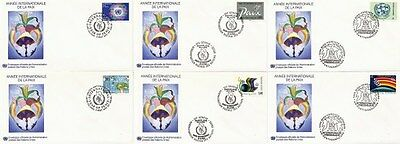 UNITED NATIONS 1986 YEAR OF PEACE IN SINGLES ON 6 FIRST DAY COVERS SHSs