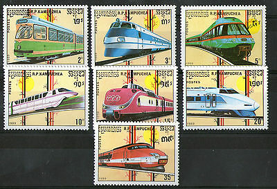 Kampuchea 1989 Diesel Electric Trains Set Of Commemorative Stamps Sg 960/6 Mnh