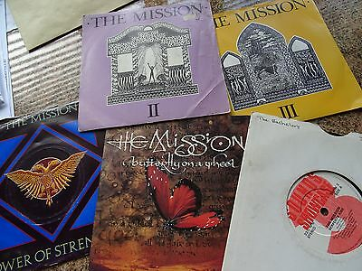 """5 RECORDS by THE MISSION 7"""" SINGLES ALL PICTURE SLEEVES GOTH ROCK"""