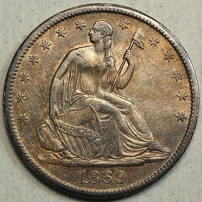 1869-S Seated Liberty Half Dollar, Choice Almost Uncirculated - Below Wholesale