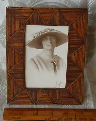 Antique Wooden Easel Frame Inlaid Wood Strips Lady in Hat Photograph c1910