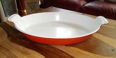 Very early Orange LE-CREUSET ?? Cast Iron 32cm Gratin Dish - used 1980s unmarked
