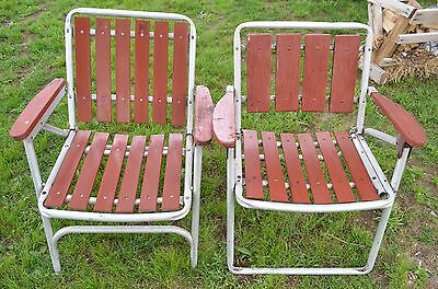 2 aluminum and cedar slat vintage patio lawn folding chairs-mid century