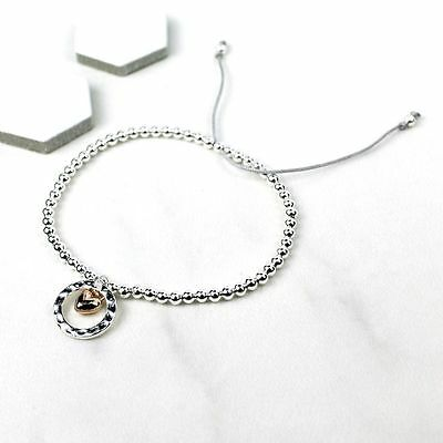 New Silver Plated Bead Bracelet with Silver Circle and Rose Gold Heart