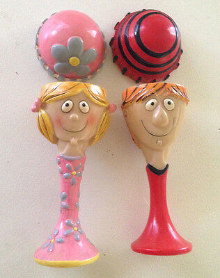 Vintage Pair (2) Girl - Boy Egg cups Eggcups Tall with Hat covers