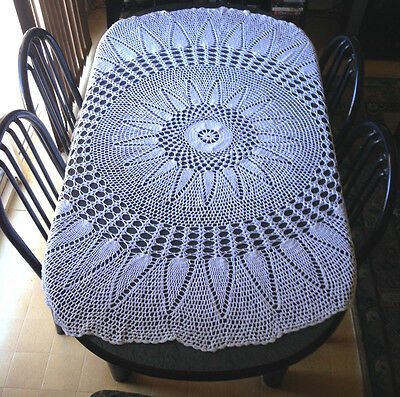 Vintage Hand Crocheted Crochet Oval Round White Cotton Tablecloth 170 x 15 cm