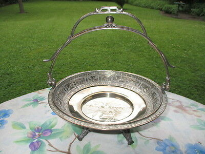 1880's AESTHETIC EASTLAKE TORONTO SILVER PLATE PIE BRIDE'S BASKET STAND HOLDER