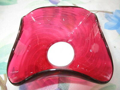 Antique Cranberry Glass Chandelier Light Or Candle Holder Bobeche Optic Twist
