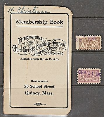 USA Union Stamps Plus empty partial dues book- Hod Workers
