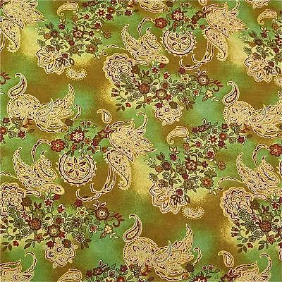 Gold, Green, Rust & Cream Paisley Cotton Quilting Fabric by RJR, Per 1/2 Yd