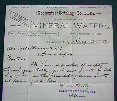 #122 - nice 1890 ROCHESTER, NY MINERAL WATERS letterhead BOTTLERS Soda Fountain