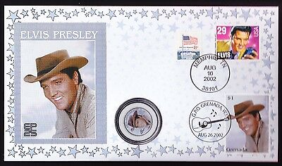 Elvis Quarter Dollar USA coin & Grenada US stamps cover 2002 Anniversary Presley