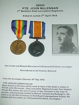 Casualty Pair - 2nd East Lancs Regiment - From ACCRINGTON. Pte. John McLennon