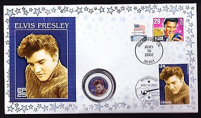 Elvis Quarter Dollar USA coin & Liberia US stamps cover 2002 Anniversary Presley