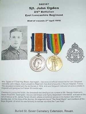 Casualty Pair - 2/5th East Lancs Regiment - From Haslingden. Sjt. John Ogden