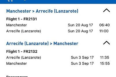 5 Return Flights From Manchester To Lanzarote. August 20th - September 3rd 2017.