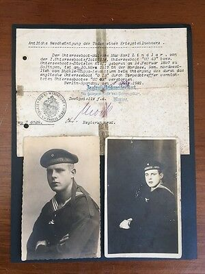 WWI Uboat Death Notice and Portraits