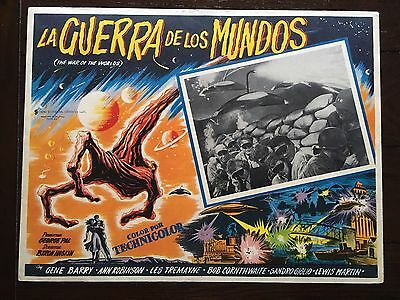 Original WAR OF THE WORLDS 1953 Mexican Horror Sci Fi Lobby Card UFO Alien