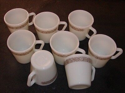 8 Vintage Pyrex Glass Coffee Cups Mugs Woodland Brown D Handle #1410 MINT