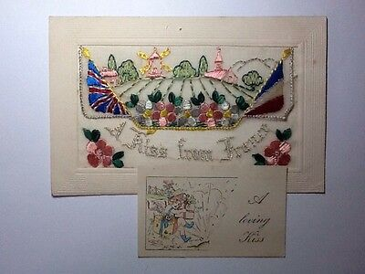 Ww1 Silk Embroidered Postcard - A Kiss From France - Insert